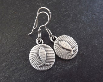 Round Fish Tribal Ethnic Silver Earrings - Authentic Turkish Style