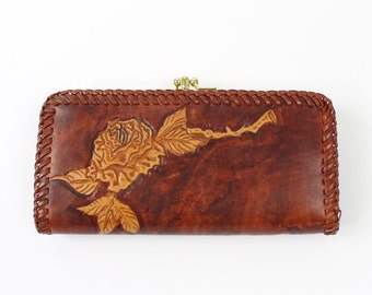 VINTAGE Leather Wallet Rose Embossed Woven