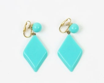 VINTAGE 1960s Mod Earrings Turquoise Dangle Clip Ons