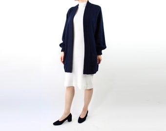 VINTAGE Navy Cardigan Open Long Sweater
