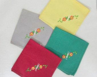 Vintage Handkerchiefs Embroidered Handkerchiefs