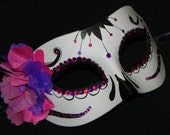 Purple and Pink Day of the Dead Mask with Rhinestone Accents - Halloween Mask