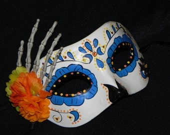 Blue, Yellow and White Day of the Dead Mask with Skeleton Hand Accent - Halloween Mask