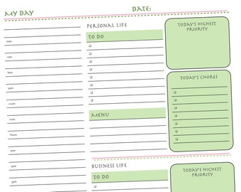 Organize Your Personal and Business Life with the Daily Planner Form  from AnnParri on Etsy