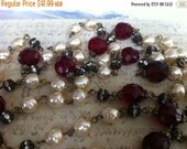 sale NEW STYLE Heirloom Style Handmade Linked Beaded Chain Antique brass with Faceted Blood RED crystals and baroque faux cream pearls