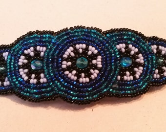 Vintage Hand Made and Beaded Native American Hair Barrette Ladies 1980s Seed Beads Black Blue Turquoise Signed French Clip