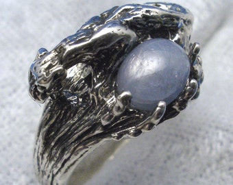 Star Sapphire Cougar Ring, Natural Light Blue-gray, Hand Crafted Recycled Sterling Silver, handmade Mountain Lion, panther, puma, tiger, cat