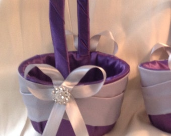 flower girl basket eggplant  purple with grey ribbon