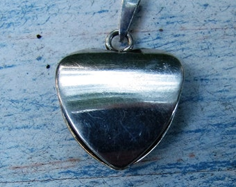 Pretty Vintage Puffed Heart Sterling Silver 925 Pendant Silver Jewelry