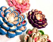 Colorful flower. Tsumami Kanzashi Hair clip/ brooch. fabric flower, Japanese flower. kanzashi flower, antique kimono