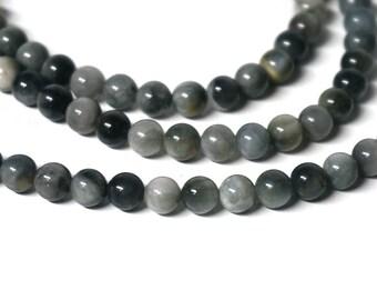 6mm Chrysoberyl Cat's Eye Bead, natural grey round gemstone, Full & Half strands available (1206R)