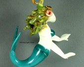 Mermaid Ornament - Lampwork Art Glass  - Beach Decor - Hanging Sculpture - ON SALE