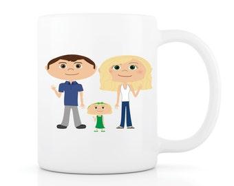 Family Mug - Your Family as a Cartoon on a Mug! Custom Mug, Family Portrait, Personalized Mug, Coffee Mug, Unique Gift, Gift for Mom