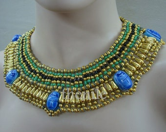 Beautiful Green Beaded Cleopatra necklace with Scarabs Mega Sale Mega Sale