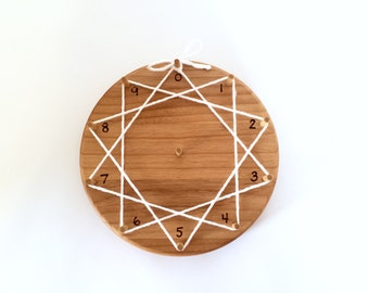 Wood Multiplication Ring Circle for Skip Counting and Times Tables Waldorf Montessori Homeschool Toy