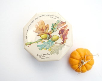 Vintage tin box storage container Acorns of the Oak candy jar Richard Webb LTD 1977 England tin canister Fall decor Autumn