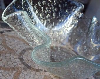 Murero glass bowl artglass handmade in Italy vintage rainglass large bowl home decor Italian glass art handkerchief vase art glassware