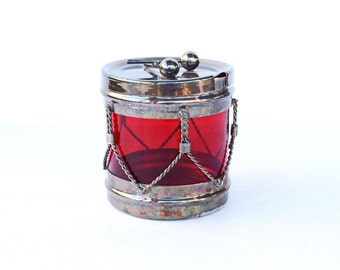 Sugar bowl J B Rogers Silver Co drum red silver plated preserves jar relish bowl vintage condiment serving jar Christmas