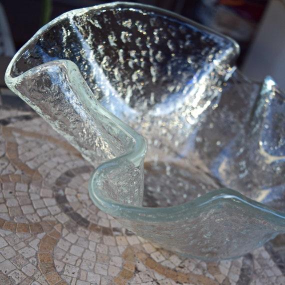 Murero Glass Bowl Artglass Handmade In Italy Vintage Rainglass