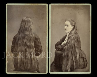 Amazing Set of CDV Photos ~ Long Haired Girl with Back to Camera ~ Manchester Iowa