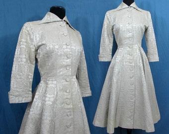 Brocade Coat Dress - 1950s Kahn designer dress - 12 gore skirt - high end design - Sm