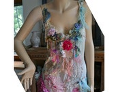 RESERVED Last Payment Art To Wear Pink/Turquoise Romantic Tunic Dress  ROSES Cinderella Boho Old Millinery Doilies  Fairy Tattered