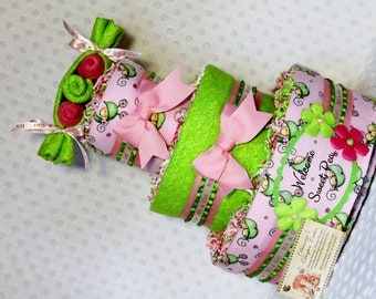 Peas in a Pod Baby Diaper Cake Girls Shower Gift or Centerpiece