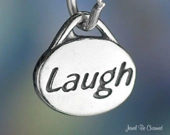 Laugh Charm Sterling Silver for Laughter Happiness Small Oval .925