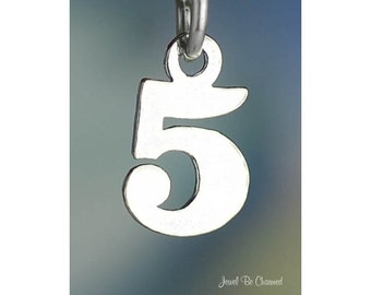 Sterling Silver Small Number Five Charm Numeral 5 Digit Solid .925