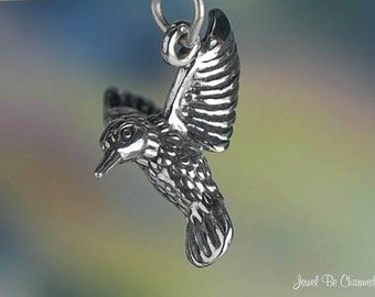 Sterling Silver 3D Hummingbird Charm Hummingbirds Bird Lover Solid 925