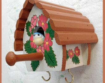 Wall Birdhouse Key Holder, Wall Jewelry Holder