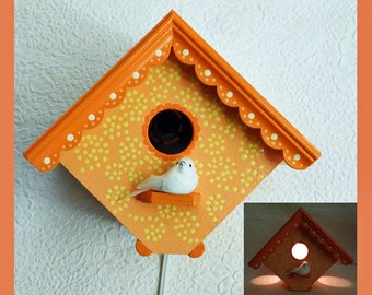 Hand Painted, Birdhouse Wall Table Night Light, Nursery Lamp, Childrens Nightlight, Decorative, Shower Gift, Unique Gift, House Warming Gift