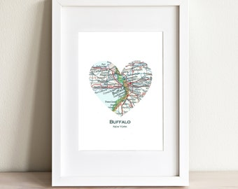 CUSTOM Heart Map Fine Art Print. Print Only. You Select Any City Worldwide. Personalized Text. Bucket List. Travel Wedding Gift. Engagement.
