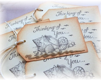 Thinking of You Tags - Seascape - Script - Gift/Hang Tags (8)