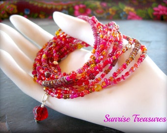 NEW Seed Bead and Gemstone Wrap Bracelet, Long Delicate Layering Boho Bead Necklace, Red/Pink/Orange/Brown/ Stacking Bracelet