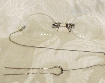 Victorian Pince Nez Eyeglasses Spectacles 14K White Gold 1800s SHUR-ON Ladies Glasses With Hairpin & Case Excellent Condition