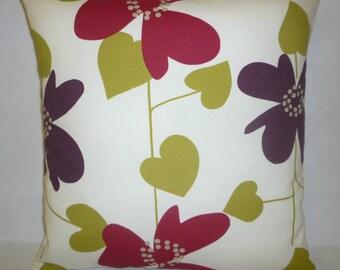 "BIG 20"" Pillow Cover Euro Sham Aubergine Red Green Floral Designer Cotton Cushion Cover.Pillowcase Sham Slip"