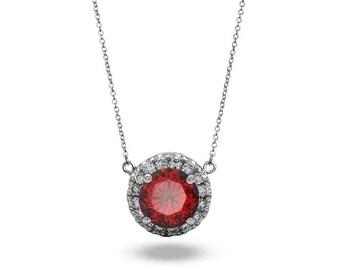 Halo Garnet Necklace Diamond Pendant Necklace in 18k White Gold/ Gold Necklaces For Women / Diamond Pendant Necklace