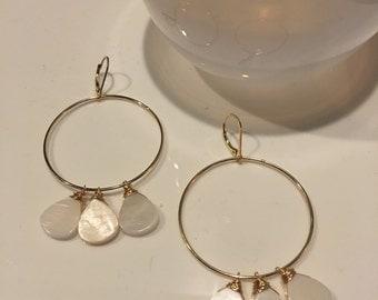 Mother of pearl and gold vermeil hoop ring earrings
