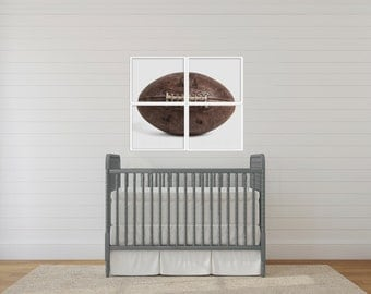 Set of Four Football on white Photo Prints, 4 sections to make one whole ball when framed.