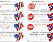 CUSTOM Greetings from Sticker Postcard ID Flag Sticker. Any Country