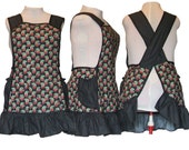 Plus size Aprons - Flirty Ruffled Apron - Cherries and Polka dots on Black  -  Ready to Mail Size 2XL
