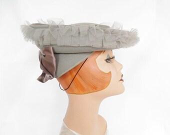 1940s tilt hat, vintage gray ruffles, Holly Vogue