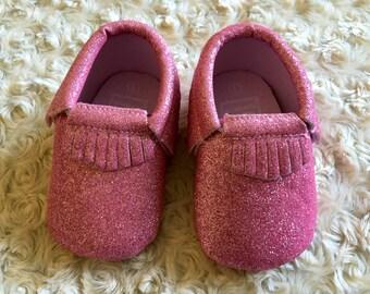 Pink glitter baby infant native moccasin