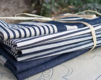Bundle Vintage French 1930s Striped Ticking Fabric Herringbone blue navy ink