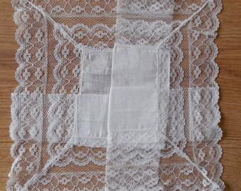 Irish Linen and Deep Lace Wedding Handkerchief Hankie New Old Stock NOS