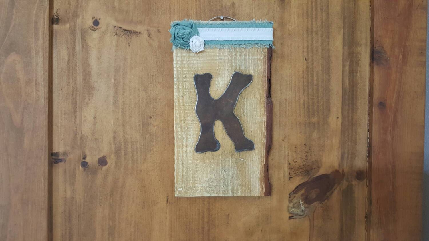 Wall Decor Letter K : Rustic metal letter k wall decor on reclaimed wood by