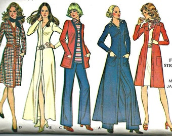 McCalls Pattern 3324 Womens Dress, Coat, Jacket and Pants Size 10 Bust 32 Vintage 1970's