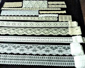 Lace Trim White,  Ecru Bundle 1980's Flat Lace