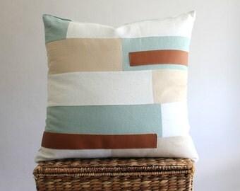Handmade Linen + Leather piecework pillow